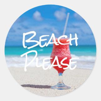 Adesivo Redondo Sandy Beach bonito por favor com daiquiri vermelho