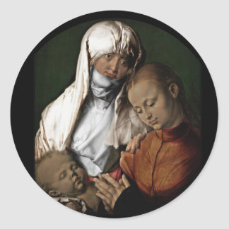 Adesivo Redondo Santo Anne que admira o bebê Jesus
