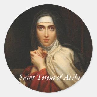 Adesivo Redondo Santo Teresa da freira carmelita de Avila
