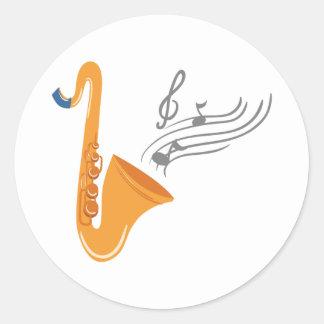 Adesivo Redondo Saxofone do saxofone de Saxophon