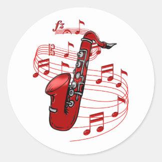 Adesivo Redondo Saxofone vermelho com notas da música