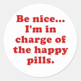 Adesivo Redondo Seja Im agradável responsável dos comprimidos