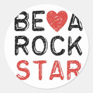 Adesivo Redondo Seja uma estrela do rock