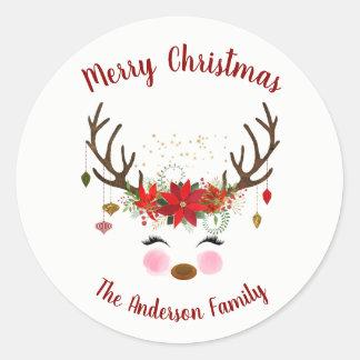 Adesivo Redondo Selo bonito do envelope do feriado do Natal da
