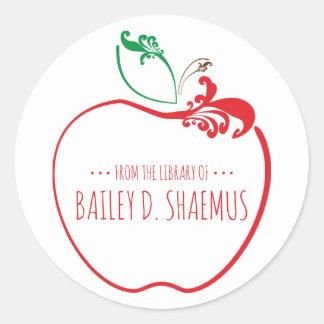 Adesivo Redondo selo da maçã do flourish do livro da biblioteca