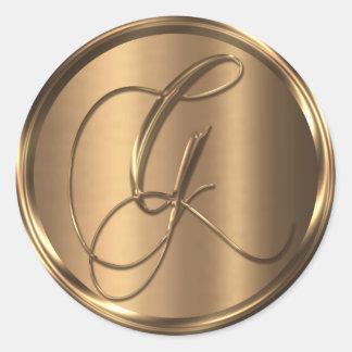 Adesivo Redondo Selo de bronze NÃO METÁLICO do envelope de G do