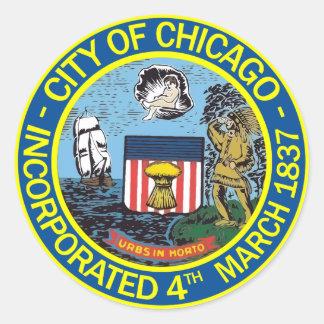 Adesivo Redondo Selo de Chicago, Illinois
