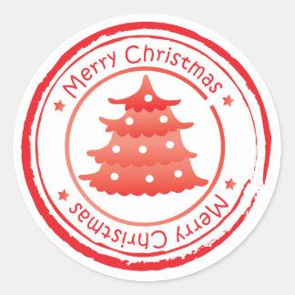 Adesivo Redondo Selo de correio do Natal - árvore de Natal