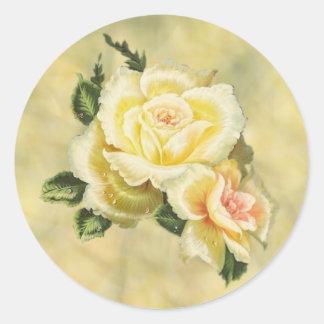 Adesivo Redondo Selo de creme do envelope dos rosas
