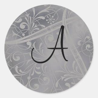 Adesivo Redondo Selo de prata do envelope do monograma