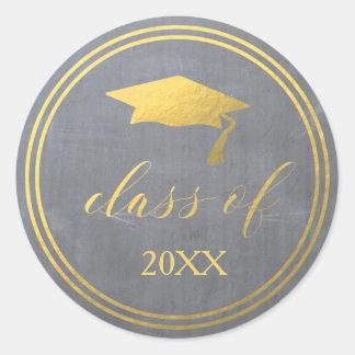 Adesivo Redondo Selo do envelope da graduação da folha de ouro  