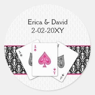 Adesivo Redondo Selo do envelope do casamento de Vegas