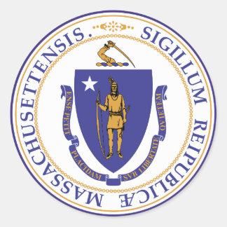 Adesivo Redondo Selo do estado de Massachusetts