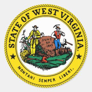 Adesivo Redondo Selo do estado de West Virginia