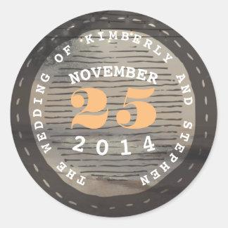 Adesivo Redondo Selo do selo do vintage do casamento do destino da