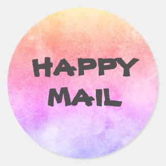 Adesivo Redondo Selo feliz do envelope do correio