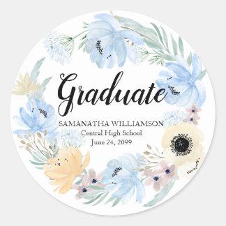 Adesivo Redondo Selo floral azul chique do envelope da graduação