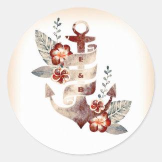 Adesivo Redondo Selo floral do casamento da âncora da praia