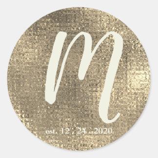 Adesivo Redondo Selo metálico do envelope do monograma do