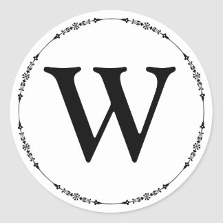 Adesivo Redondo Selo preto e branco elegante do envelope do