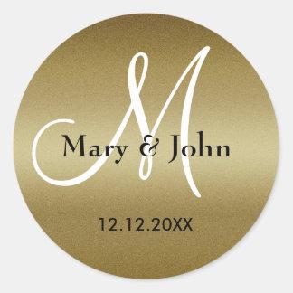 Adesivo Redondo Selos do monograma do casamento dourado