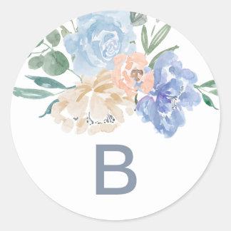 Adesivo Redondo Selos florais azuis empoeirados do envelope do