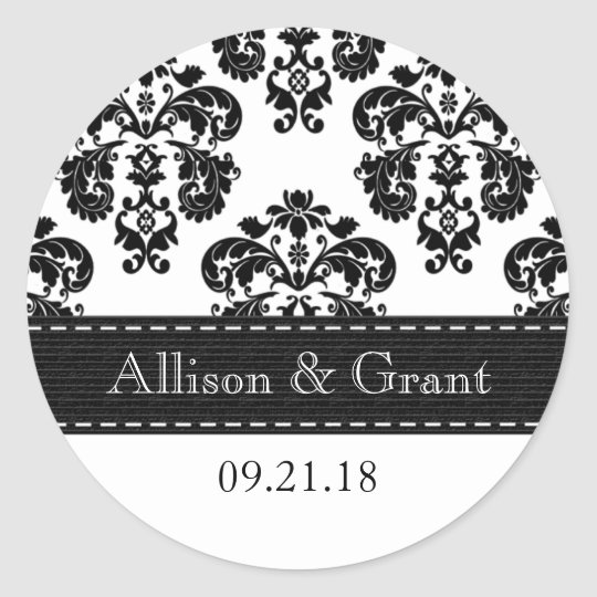 Muito Adesivo Redondo Selos preto e branco personalizados do casamento  FF87