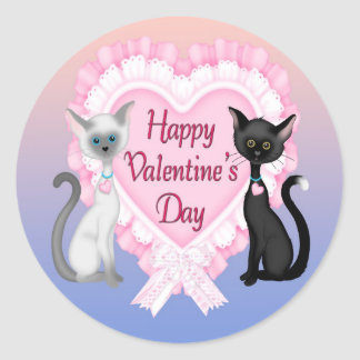 Adesivo Redondo Selos redondos do envelope dos gatos do dia dos