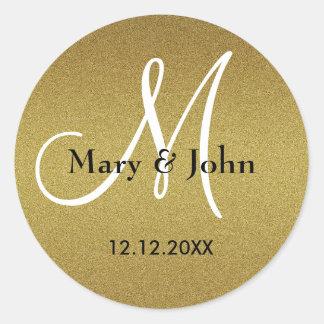 Adesivo Redondo Selos Shimmery do monograma do casamento do ouro