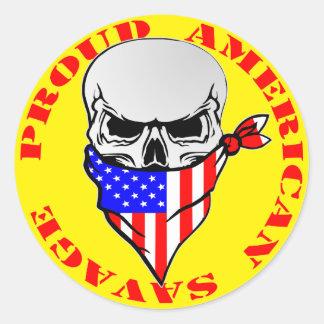 Adesivo Redondo © selvagem americano orgulhoso de