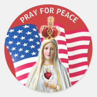 Adesivo Redondo Senhora da mãe abençoada BANDEIRA de Fatima EUA