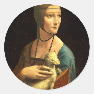 Adesivo Redondo Senhora da pintura de Da Vinci original com um