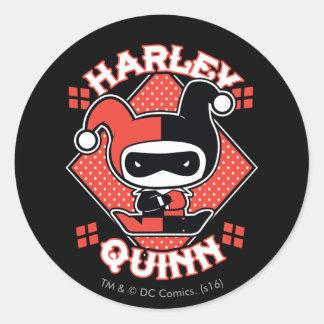 Adesivo Redondo Separações de Chibi Harley Quinn