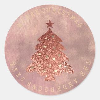 Adesivo Redondo Sepia cor-de-rosa de linho do ouro da árvore do