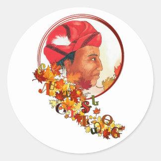 """Adesivo Redondo Sequoyah & o Syllabary Cherokee """"que fala saem """""""