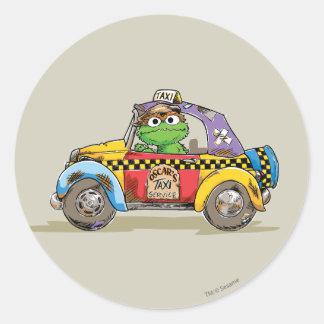 Adesivo Redondo Serviço do táxi de Oscar do vintage