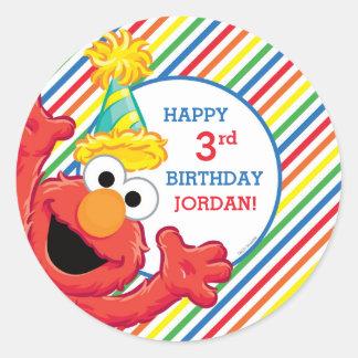 Adesivo Redondo Sesame Street   Elmo - aniversário do arco-íris