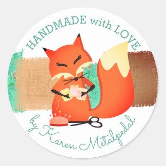 Adesivo Redondo Sewing da raposa da costureira handmade com