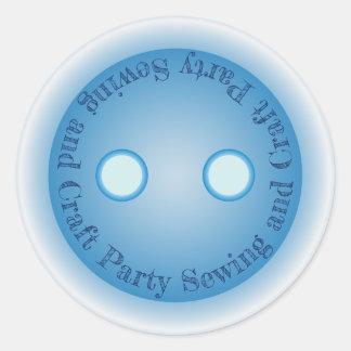 Adesivo Redondo Sewing do botão e partido azuis do artesanato