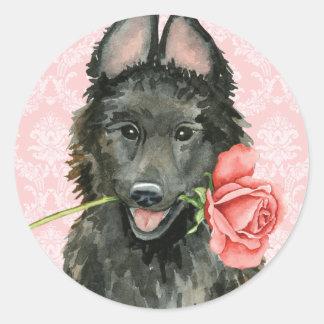 Adesivo Redondo Sheepdog belga cor-de-rosa dos namorados