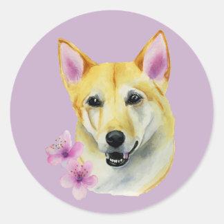 Adesivo Redondo Shiba Inu com pintura da aguarela de Sakura