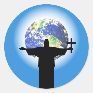 Adesivo Redondo Silhueta com uma cruz