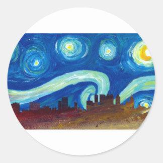Adesivo Redondo Silhueta da skyline de Atlanta com noite estrelado