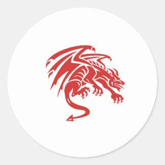 Adesivo Redondo Silhueta de agachamento da gárgula do dragão retro