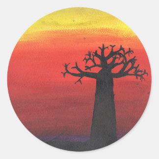 Adesivo Redondo Silhueta do Baobab