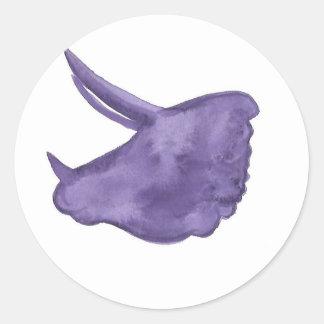 Adesivo Redondo Silhueta roxa do Triceratops