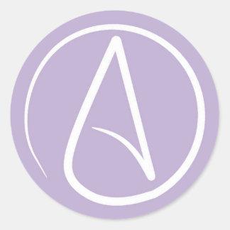 Adesivo Redondo Símbolo ateu: branco na lavanda
