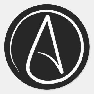 Adesivo Redondo Símbolo ateu: branco no preto