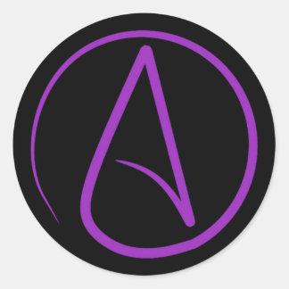 Adesivo Redondo Símbolo ateu: roxo no preto