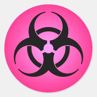 Adesivo Redondo Símbolo cor-de-rosa do Biohazard